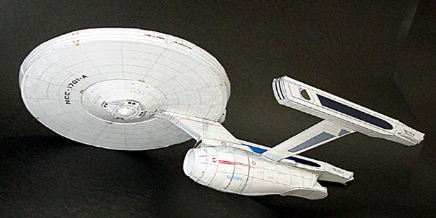 Maqueta 3D imprimible y armable de la nave Enterprise de Star Trek. Manualidades a Raudales.