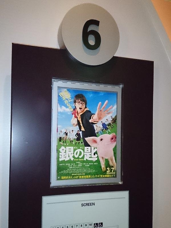 TOHOシネマズ西新井、スクリーン6前に掲示されたチラシ。