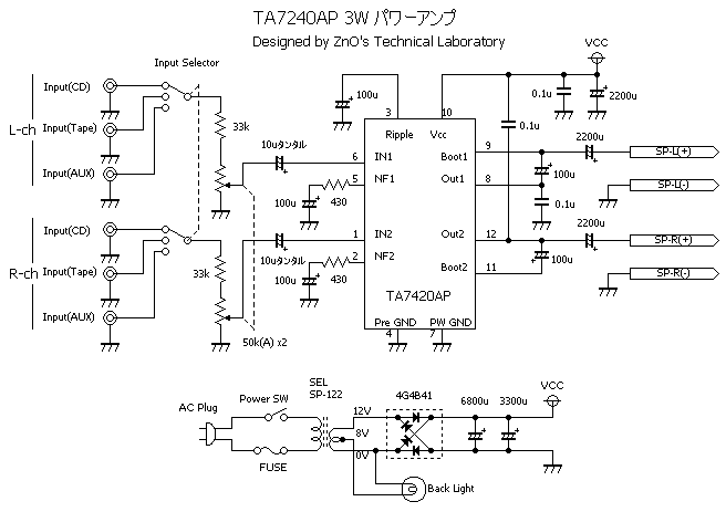 TA7240パワーアンプ